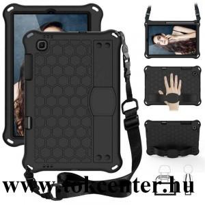 Samsung Galaxy Tab S6 Lite 10.4 LTE (SM-P615) / Tab S6 Lite 10.4 WIFI (SM-P610) Defender szilikon telefonvédő (kézpánt, közepesen ütésálló, kitámasztó, méhsejt minta, vállra akasztható) FEKETE