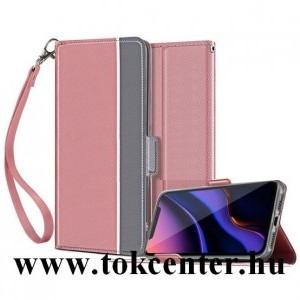 Samsung Galaxy Note 10 (SM-N970F) Tok álló, bőr hatású (FLIP, oldalra nyíló, asztali tartó funkció, textil minta + csuklópánt) ROZÉARANY