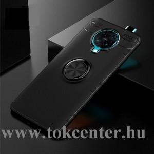 Xiaomi Pocophone F2 Pro Szilikon telefonvédő (asztali tartó funkció, telefontartó gyűrű, 360°-ban forgatható, beépített fémlemez) FEKETE