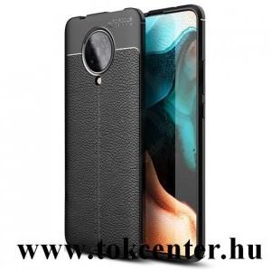 Xiaomi Pocophone F2 Pro Szilikon telefonvédő (közepesen ütésálló, bőr hatású, varrás minta) FEKETE