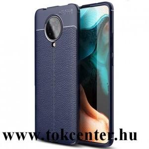 Xiaomi Pocophone F2 Pro Szilikon telefonvédő (közepesen ütésálló, bőr hatású, varrás minta) SÖTÉTKÉK
