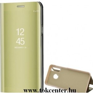 Samsung Galaxy Note 20 (SM-N980F) / Note 20 5G (SM-N981F) Tok álló (aktív flip, oldalra nyíló, asztali tartó funkció, tükrös felület, Mirror View Case) ARANY