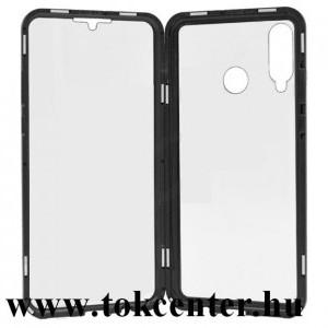 Huawei P30 Lite (Nova 4e) Alumínium telefonvédő (360°-os védelem, mágneses, közepesen ütésálló, edzett üveg előlap, hátlap, 9H) FEKETE