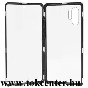 Samsung Galaxy Note 10 Plus (SM-N975F) / Note 10 Plus 5G (SM-N976F) Alumínium telefonvédő (360°-os védelem, mágneses, közepesen ütésálló, edzett üveg előlap, hátlap, 9H) FEKETE