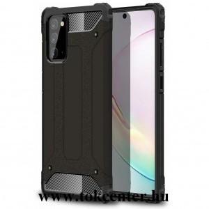Samsung Galaxy Note 20 (SM-N980F) / Note 20 5G (SM-N981F) Defender műanyag telefonvédő (közepesen ütésálló, légpárnás sarok, szilikon belső, fémhatás) FEKETE