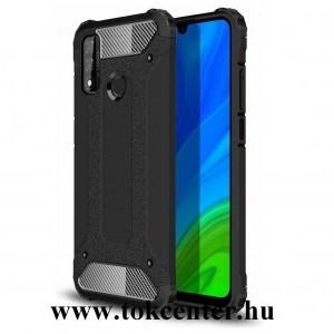 Huawei P Smart (2020) Defender műanyag telefonvédő (közepesen ütésálló, légpárnás sarok, szilikon belső, fémhatás) FEKETE