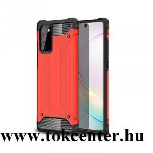 Samsung Galaxy Note 20 (SM-N980F) / Note 20 5G (SM-N981F) Defender műanyag telefonvédő (közepesen ütésálló, légpárnás sarok, szilikon belső, fémhatás) PIROS