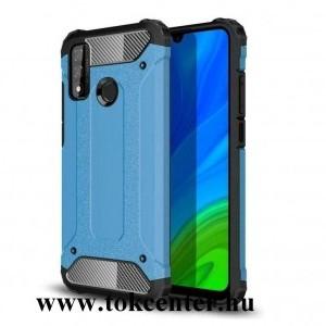 Huawei P Smart (2020) Defender műanyag telefonvédő (közepesen ütésálló, légpárnás sarok, szilikon belső, fémhatás) VILÁGOSKÉK