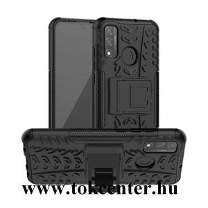 Huawei P Smart (2020) Defender műanyag telefonvédő (közepesen ütésálló, szilikon belső, kitámasztó, autógumi minta) FEKETE