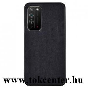 Honor X10 5G Műanyag telefonvédő (közepesen ütésálló, szilikon keret, textil hátlap) FEKETE