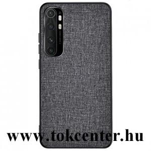 Xiaomi Mi Note 10 Lite Műanyag telefonvédő (közepesen ütésálló, szilikon keret, textil hátlap) SZÜRKE