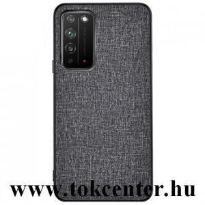 Honor X10 5G Műanyag telefonvédő (közepesen ütésálló, szilikon keret, textil hátlap) SZÜRKE