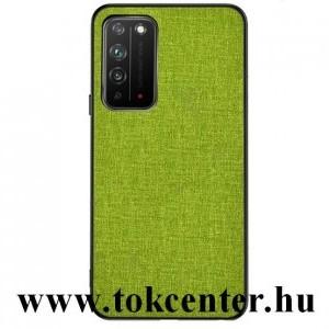 Honor X10 5G Műanyag telefonvédő (közepesen ütésálló, szilikon keret, textil hátlap) ZÖLD