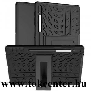Samsung Galaxy Tab S7 Plus WIFI (SM-T970) / Tab S7 Plus WIFI 5G (SM-T976) Defender műanyag telefonvédő (közepesen ütésálló, szilikon belső, kitámasztó, autógumi minta) FEKETE