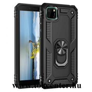 Huawei Y5p Defender műanyag telefonvédő (közepesen ütésálló, szilikon belső, telefontartó gyűrű, beépített fémlemez) FEKETE