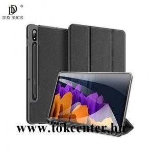 Samsung Galaxy Tab S7 LTE (SM-T875) /S7 LTE 5G (SM-T876) /S7 WIFI (SM-T870) DUX DUCIS DOMO tok álló, bőr hatású (aktív flip, oldalra nyíló, TRIFOLD asztali tartó funkció, textil minta) FEKETE