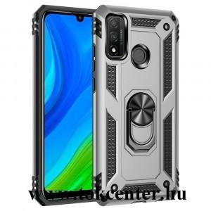 Huawei P Smart (2020) Defender műanyag telefonvédő (közepesen ütésálló, szilikon belső, telefontartó gyűrű, beépített fémlemez) EZÜST