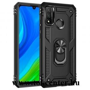 Huawei P Smart (2020) Defender műanyag telefonvédő (közepesen ütésálló, szilikon belső, telefontartó gyűrű, beépített fémlemez) FEKETE