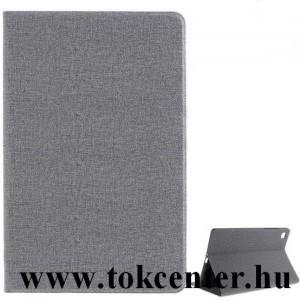 Samsung Galaxy Tab A7 10.4 (2020) LTE SM-T505 / Tab A7 10.4 (2020) WIFI SM-T500 Tok álló, bőr hatású (FLIP, oldalra nyíló, asztali tartó funkció, textil minta) SZÜRKE