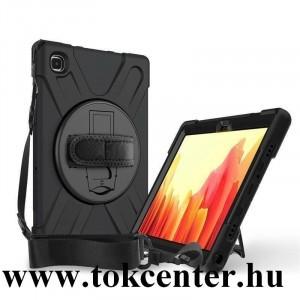 Samsung Galaxy Tab A7 10.4 (2020) LTE SM-T505 / Tab A7 10.4 (2020) WIFI SM-T500 Defender szilikon telefonvédő (kézpánt, közepesen ütésálló, kitámasztó, 360°-ban forgatható + vállpánt) FEKETE