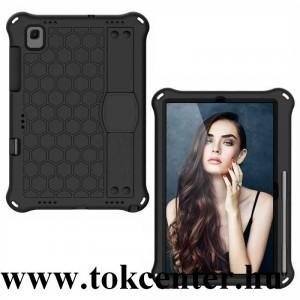 Samsung Galaxy Tab A7 10.4 (2020) LTE SM-T505 / Tab A7 10.4 (2020) WIFI SM-T500 Defender szilikon telefonvédő (kézpánt, közepesen ütésálló, kitámasztó, méhsejt minta) FEKETE