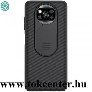 Xiaomi Poco X3 NFC NILLKIN CAMSHIELD szilikon telefonvédő (közepesen ütésálló, műanyag hátlap, csúsztatható kamera védelem, csíkos) FEKETE