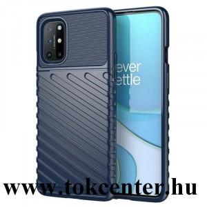 OnePlus 8T Szilikon telefonvédő (közepesen ütésálló, csíkos, dombor minta) SÖTÉTKÉK