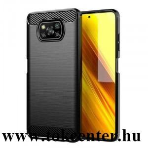 Xiaomi Poco X3 NFC Szilikon telefonvédő (közepesen ütésálló, légpárnás sarok, szálcsiszolt, karbon minta) FEKETE