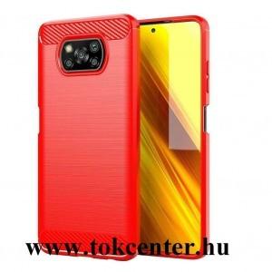 Xiaomi Poco X3 NFC Szilikon telefonvédő (közepesen ütésálló, légpárnás sarok, szálcsiszolt, karbon minta) PIROS
