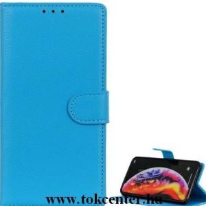 LG K22 (LMK200HM) Tok álló, bőr hatású (FLIP, oldalra nyíló, asztali tartó funkció) VILÁGOSKÉK
