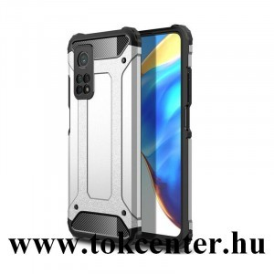 Xiaomi Mi 10T 5G / Xiaomi Mi 10T Pro 5G Defender műanyag telefonvédő (közepesen ütésálló, légpárnás sarok, szilikon belső, fémhatás) EZÜST