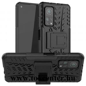 Xiaomi Mi 10T 5G / Xiaomi Mi 10T Pro 5G Defender műanyag telefonvédő (közepesen ütésálló, szilikon belső, kitámasztó, autógumi minta) FEKETE