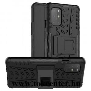 OnePlus 8T Defender műanyag telefonvédő (közepesen ütésálló, szilikon belső, kitámasztó, autógumi minta) FEKETE
