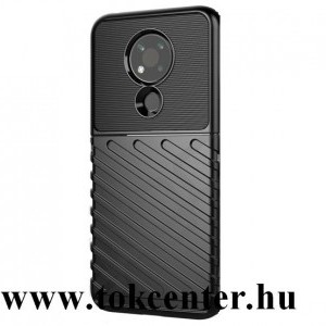 Nokia 3.4 Szilikon telefonvédő (közepesen ütésálló, csíkos, dombor minta) FEKETE