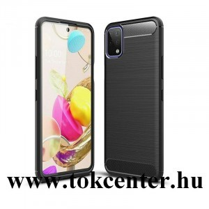 LG K42 (LM-K420HM) Szilikon telefonvédő (közepesen ütésálló, légpárnás sarok, szálcsiszolt, karbon minta) FEKETE