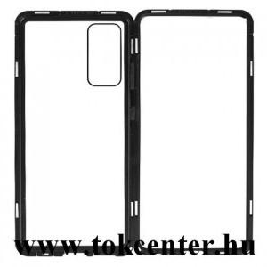 Samsung Galaxy S20 FE (SM-G780) Alumínium telefonvédő (360°-os védelem, mágneses, közepesen ütésálló, edzett üveg előlap, hátlap, 9H) FEKETE