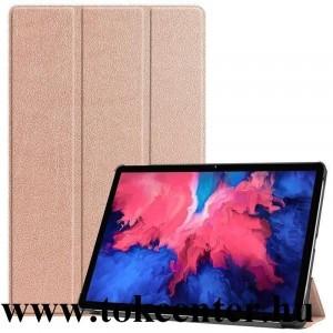 Samsung Galaxy Tab A7 10.4 (2020) LTE SM-T505 /Tab A7 10.4 (2020) WIFI SM-T500 Tok álló, bőr hatású (aktív flip, oldalra nyíló, TRIFOLD asztali tartó funkció) ROZÉARANY