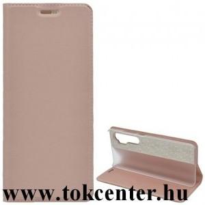 LG K42 (LM-K420HM) Tok álló, bőr hatású (FLIP, oldalra nyíló, asztali tartó funkció) ROZÉARANY