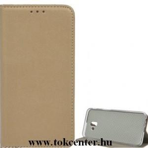 LG K42 (LM-K420HM) Tok álló, bőr hatású (FLIP, oldalra nyíló, asztali tartó funkció) ARANY