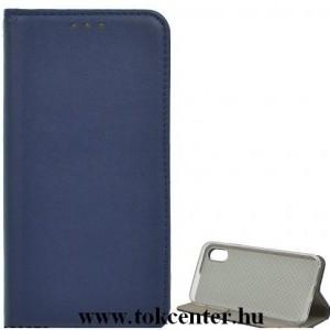 LG K42 (LM-K420HM) Tok álló, bőr hatású (FLIP, oldalra nyíló, asztali tartó funkció) SÖTÉTKÉK