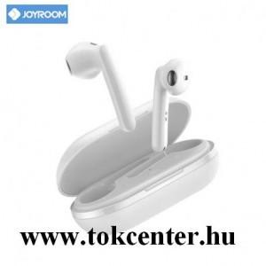 JOYROOM BLUETOOTH fülhallgató SZTEREO (v5.0, TWS, mikrofon, játékhoz, zenehallgatáshoz ajánlott + töltőtok) FEHÉR