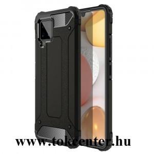 Samsung Galaxy A42 5G (SM-A425F) Defender műanyag telefonvédő (közepesen ütésálló, légpárnás sarok, szilikon belső, fémhatás) FEKETE
