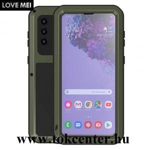 Samsung Galaxy S21 (SM-G991) 5G LOVE MEI Powerful defender telefonvédő gumi (ütésálló, fém keret + Gorilla Glass üveg) SÖTÉTZÖLD