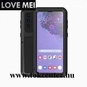 Samsung Galaxy S21 (SM-G991) 5G LOVE MEI Powerful defender telefonvédő gumi (ütésálló, fém keret + Gorilla Glass üveg) FEKETE
