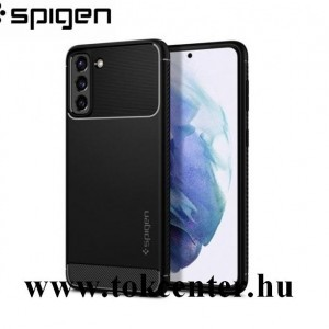 Samsung Galaxy S21 (SM-G991) 5G SPIGEN RUGGED ARMOR szilikon telefonvédő (közepesen ütésálló, légpárnás sarok, karbon minta) FEKETE (ACS02421)