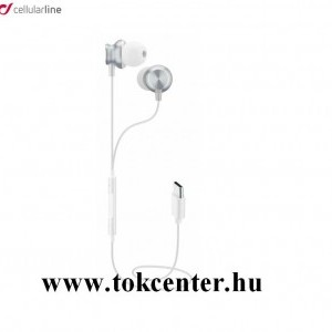 CELLULARLINE IN EAR fülhallgató SZTEREO (Type-C, mikrofon, felvevő gomb, hangerő szabályzó) FEHÉR