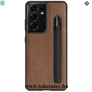 Samsung Galaxy S21 Ultra (SM-G998) 5G NILLKIN AOGE műanyag telefonvédő (valódi bőr hátlap, mikrofiber plüss belső, bankkártya tartó) BARNA