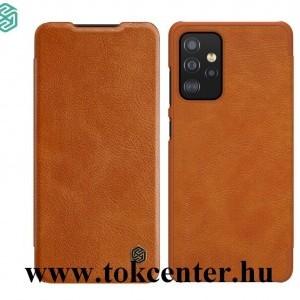 Samsung Galaxy A52 4G (SM-A525F) / Galaxy A52 5G (SM-A526F) NILLKIN QIN tok álló, bőr hatású (FLIP, oldalra nyíló, bankkártya tartó) BARNA