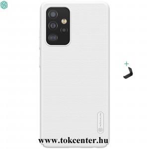 Samsung Galaxy A52 4G (SM-A525F) / Galaxy A52 5G (SM-A526F) NILLKIN SUPER FROSTED műanyag telefonvédő (gumírozott, érdes felület + asztali tartó) FEHÉR
