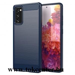 Samsung Galaxy S21 Plus (SM-G996) 5G Szilikon telefonvédő (közepesen ütésálló, légpárnás sarok, szálcsiszolt, karbon minta) SÖTÉTKÉK